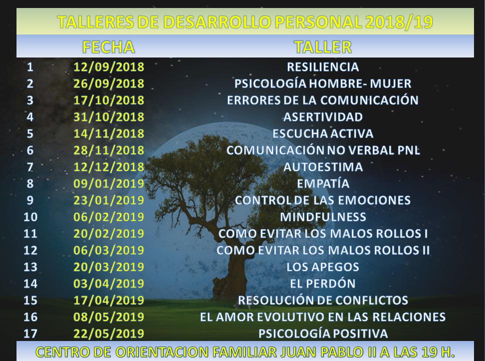 Inicio de la sexta edición de los TALLERES  GRUPALES DE DESARROLLO PERSONAL