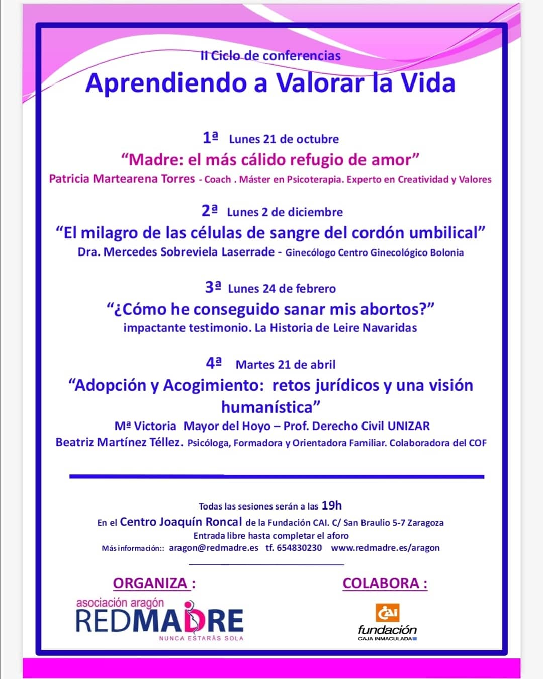 Conferencias RED MADRE «Aprendiendo a valorar la vida»