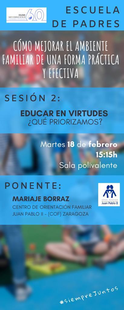 Taller de formación para padres en centro educativo¡Virtudes!